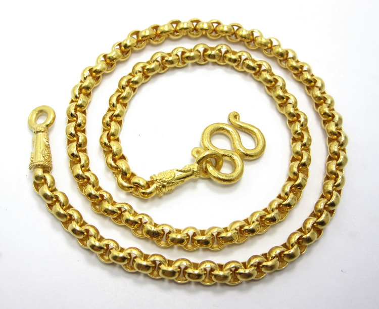 Thai gold 23K Rolo chain necklace 3 Baht