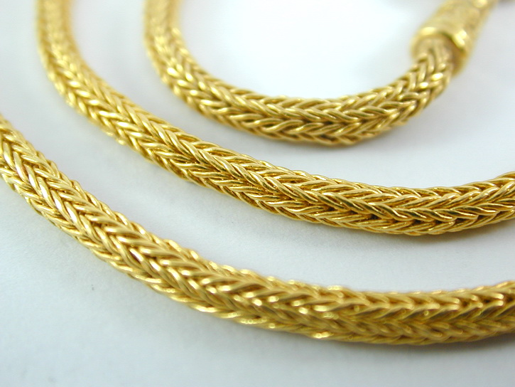 Thai Baht 23k gold braided chain necklace