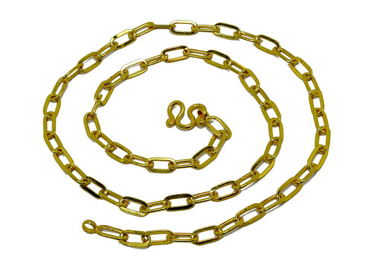 Oval link solid 23k gold Thai Baht chain