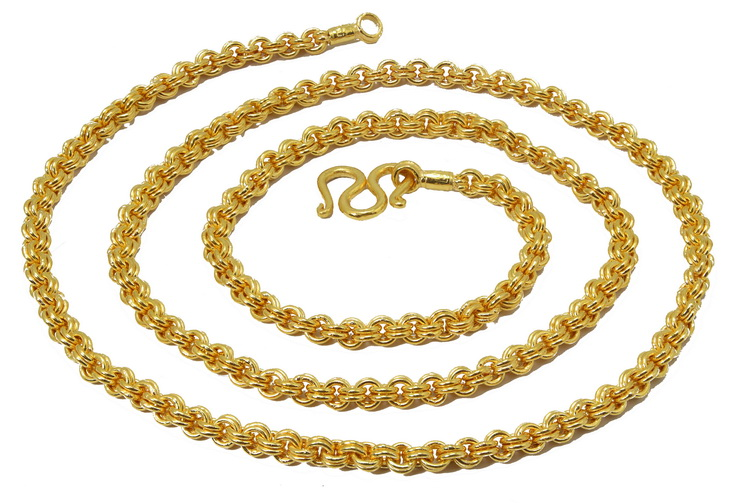 3 Baht 23k gold Thai DOUBLE ROLO chain made in Thailand
