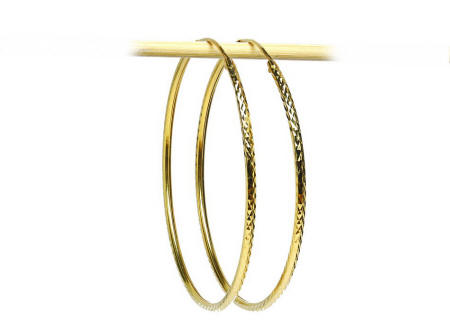 18k gold Thai style diamond cut Hoop earrings