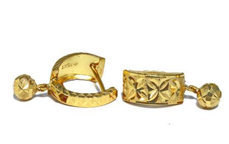 18k gold Thai style lever back earrings