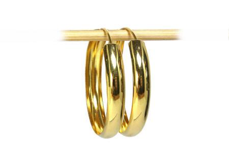 18k gold highly polished Thai hoop earrings