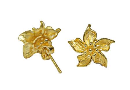 23k solid gold heavy Floral earrings