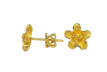 23k gold Floral small earrings