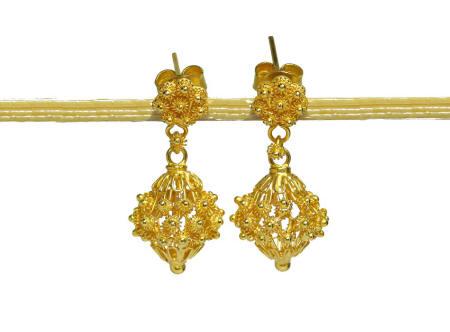 23k solid 18k gold Thai Picun drop earrings