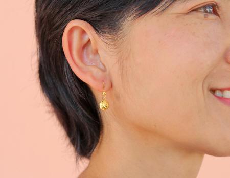 18k gold Drop Ball diamond cut Thai earrings