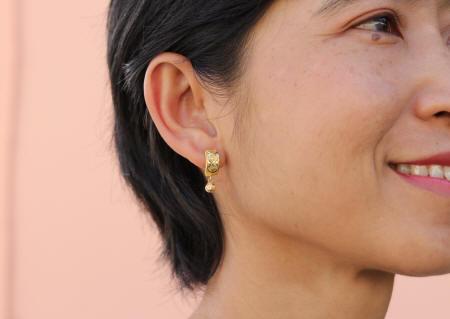 18k gold earrings lever-back drops