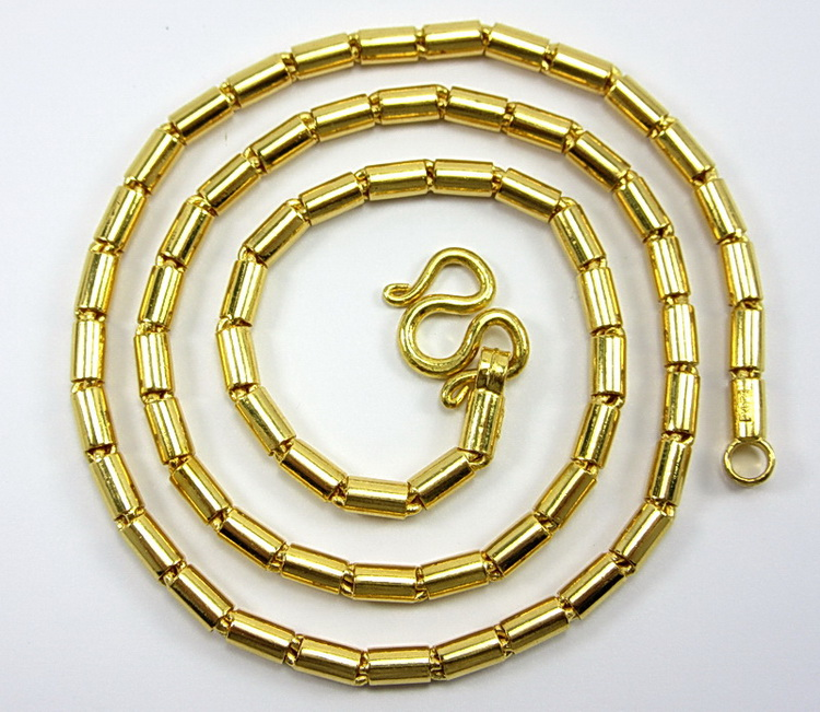 Thai 23k gold Barrel Link chain necklace