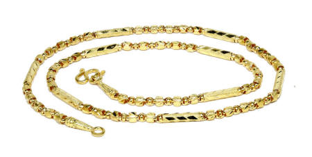 Thai 23k gold fancy mixed link Baht chain