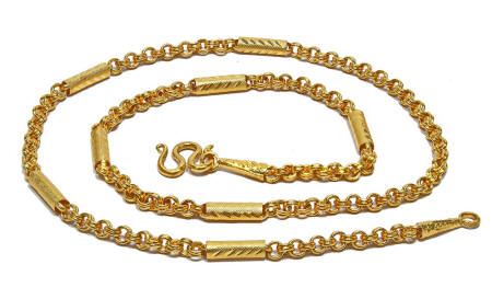 99.99% Fligree 24k gold mixed link chain