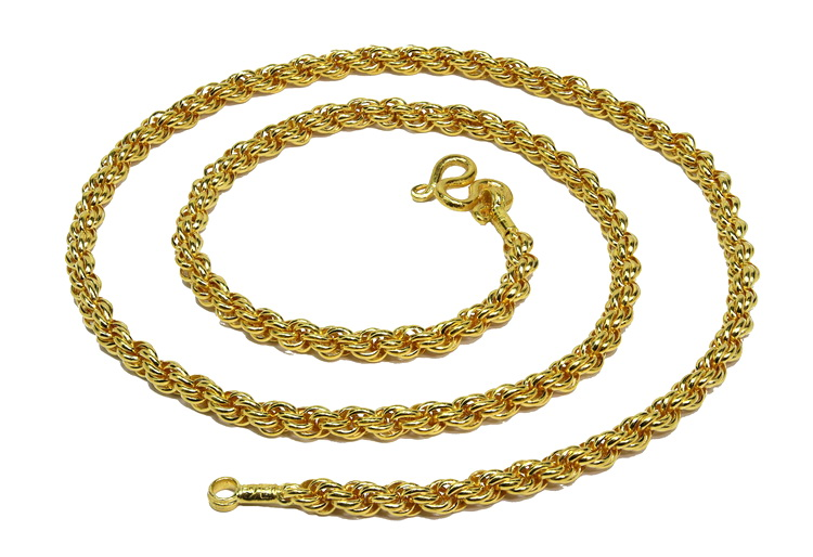 Rope chain in 23k gold