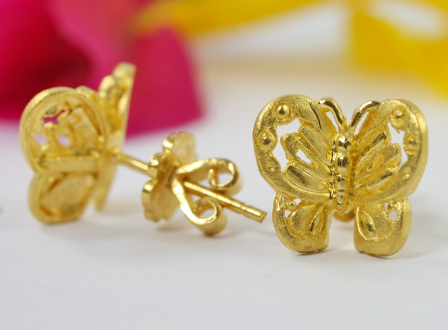 E 113 Solid 23k Gold 96 5 Erfly Earrings A Heavy Grams Total Weight Completely Handmade
