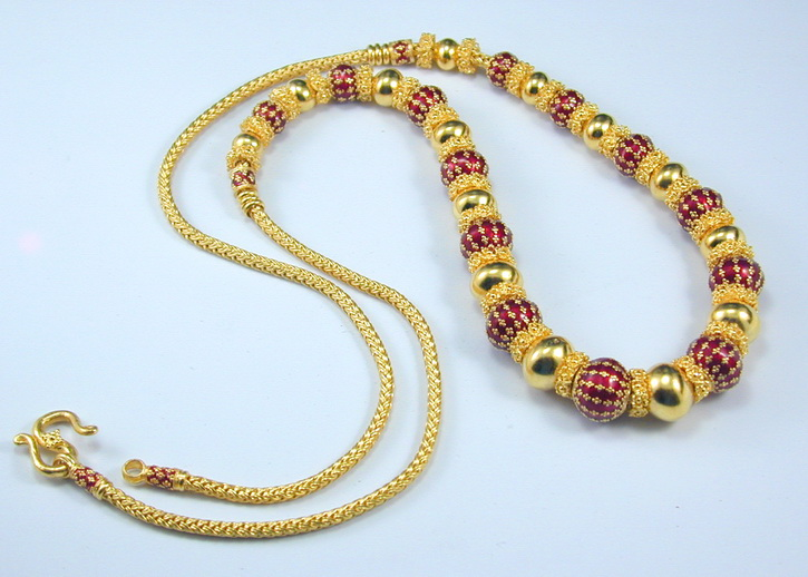 Thai Sukhothai 24K Baht gold enameled necklace
